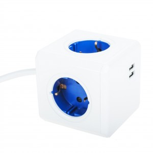 Powercube blue with 2 USB charge points
