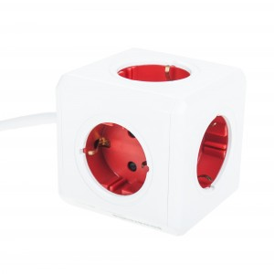 """Powercube"" red with 2 USB charge points Light Essentials"