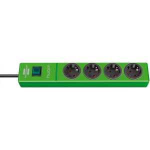Hugo! extension socket 4-way green light essentials