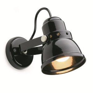 Retro wall light small black