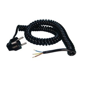 Black coiled cord with plug