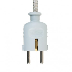 Light grey colored plug with schuko Light Essentials
