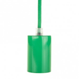 Lamp holder sleeve E27 green metal Light Essentials