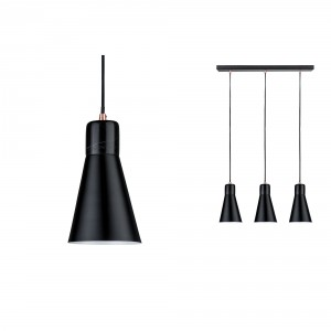 Paulmann 'Ivar' 3-fold pendant lamp black / marble Light Essentials