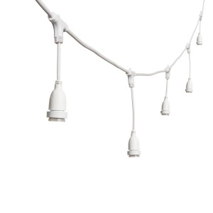 String lights dropped sockets short - white - E27 - 5m - connectable