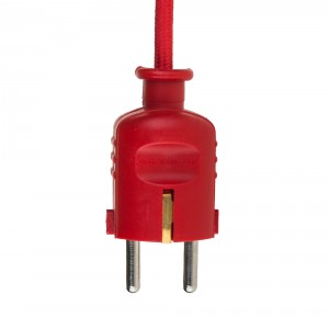 Red colored plug with schuko Light Essentials