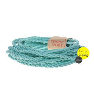 blue coiled fabric cable at Light Essentials