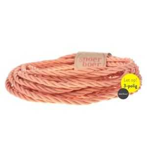 Torcido salmon colored pink fabric twisted cable