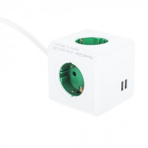 Powercube green with 2 USB charge points