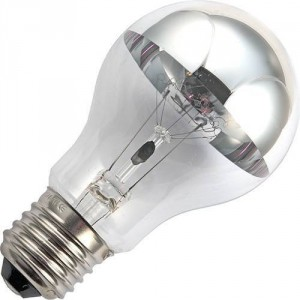 Incandescent 60W top mirror silver
