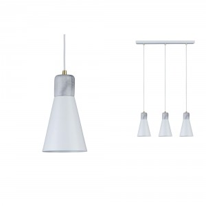 Paulmann 'Ivar' 3-fold pendant lamp white / marble Light Essentials