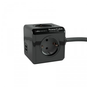 PowerCube black with 2 USB charge points