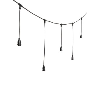 String lights dropped sockets long - black - E27 - 5m - connectable Light Essentials