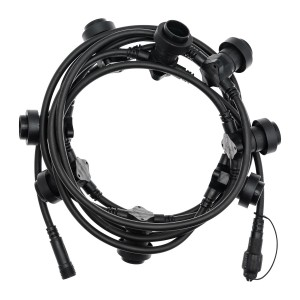 String lights black - E27 - 5m - connectable Snoerboer