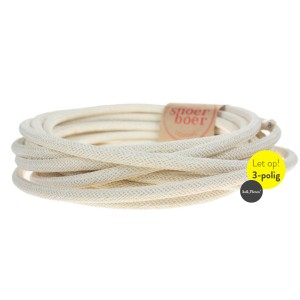 Snoerboer Naturals: Ivory fabric cable GROUNDED Light Essentials