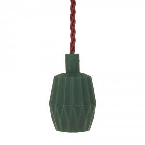 Silicone lamp holder sleeve pleated dark green Light Essentials