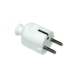 White plug with pin-earth Belgium and Netherlands