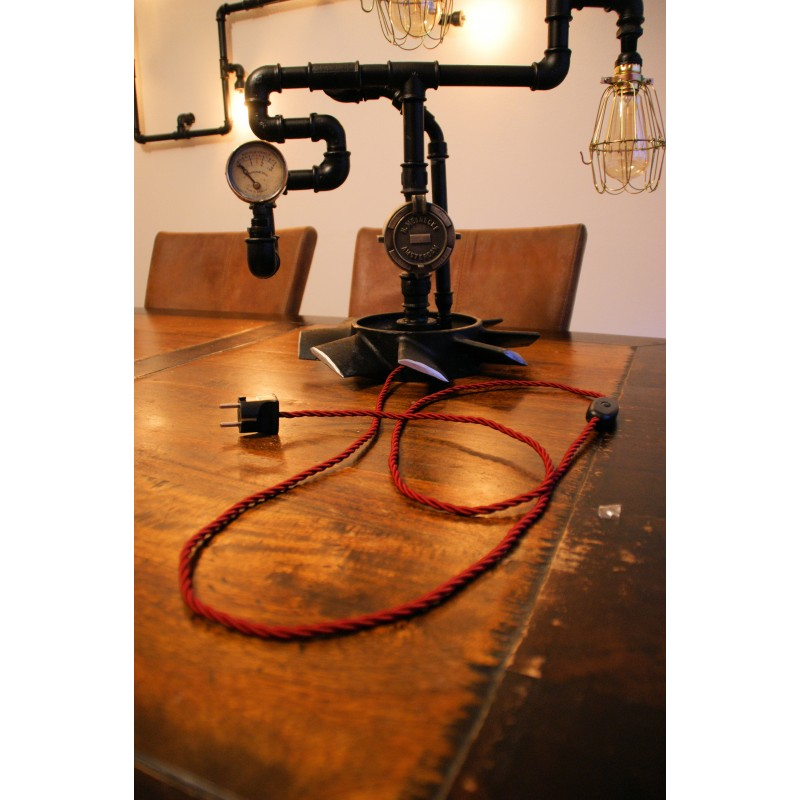 Torcido red textile cable light essentials