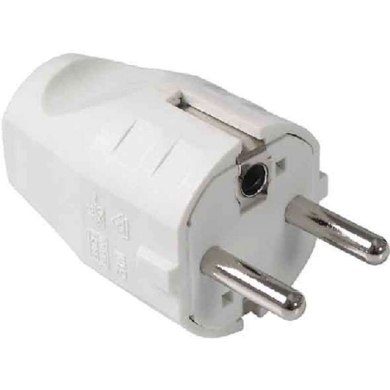 Grounded white plug with pin