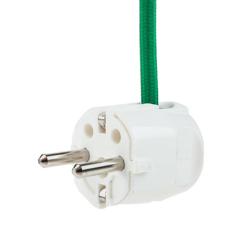 Right angled classic white grounded plug