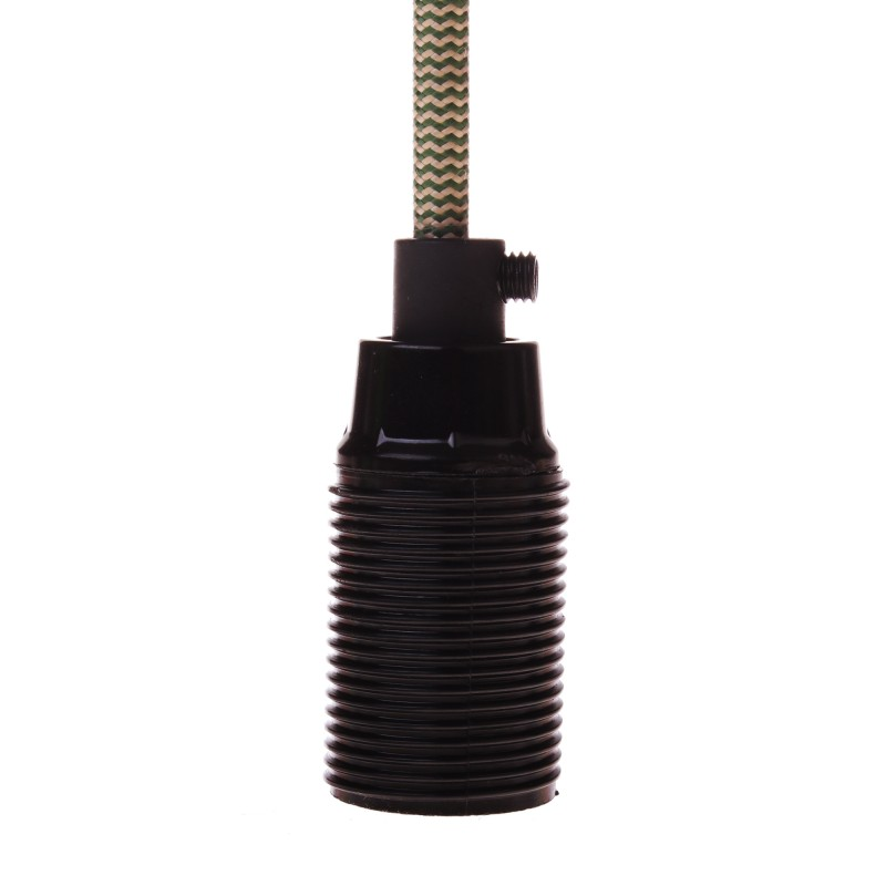 Lamp holder E14 black with external thread
