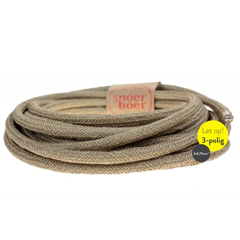Snoerboer Naturals: Sisal fabric cable (grounded) Light Essentials