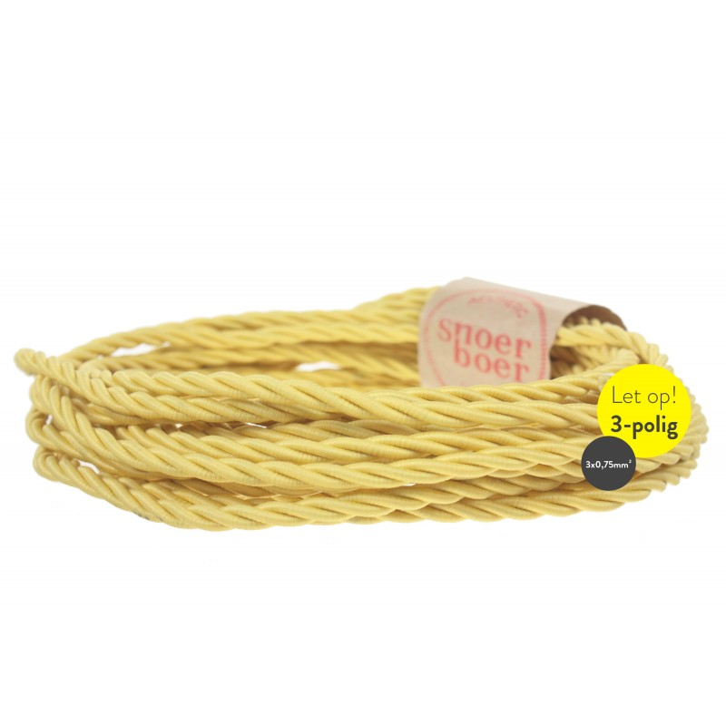 Torcido yellow fabric coiled cable